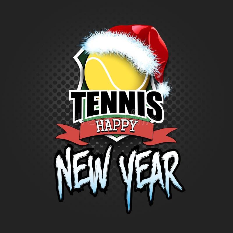 Bola de tênis com chapéu de Santa e ano novo feliz ilustração do vetor