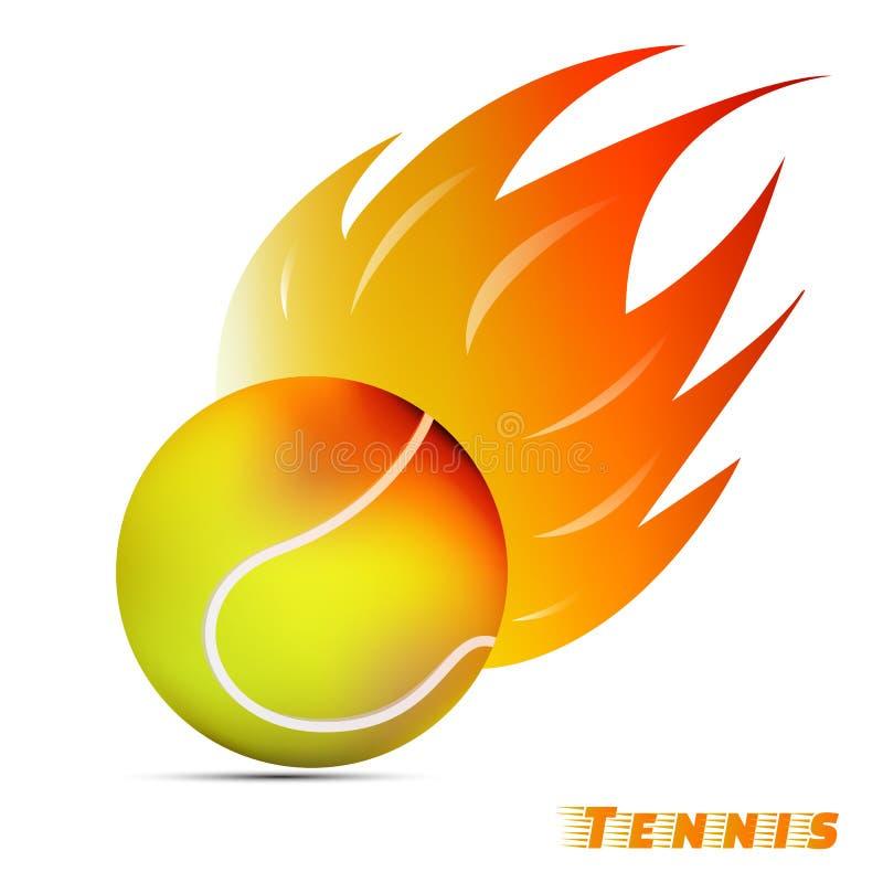 Bola de tênis com fogo vermelho do tom do amarelo alaranjado no fundo branco projeto do logotipo da bola do esporte Logotipo da b ilustração stock