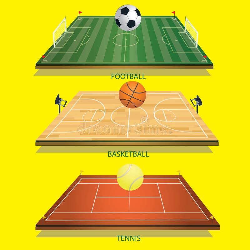 Bola de tênis do campo 3D do tênis do fundo da ilustração do vetor ilustração stock