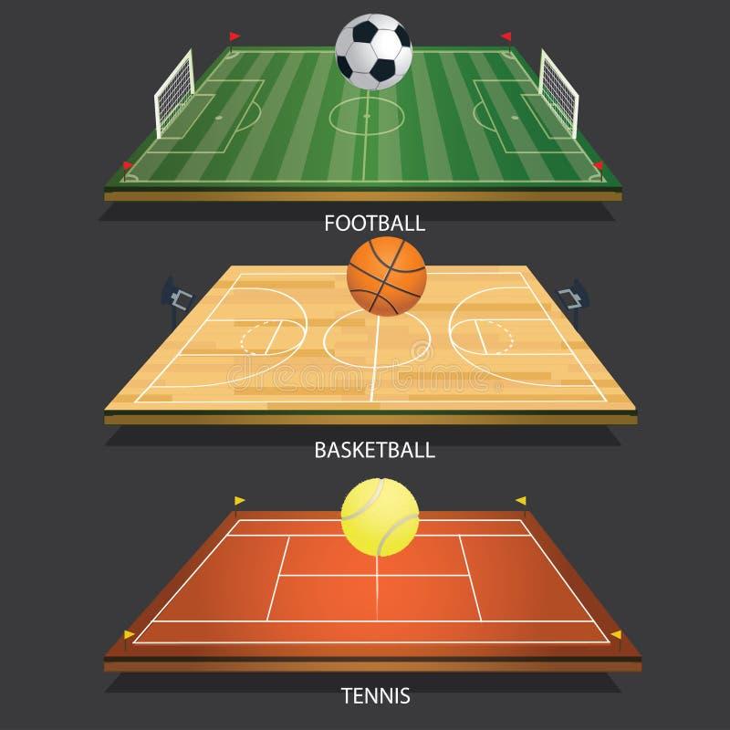 Bola de tênis do campo 3D do tênis do fundo da ilustração do vetor ilustração do vetor
