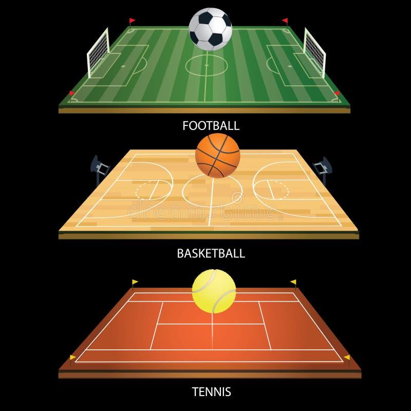 Bola de tênis do campo 3D do tênis do fundo da ilustração do vetor ilustração royalty free