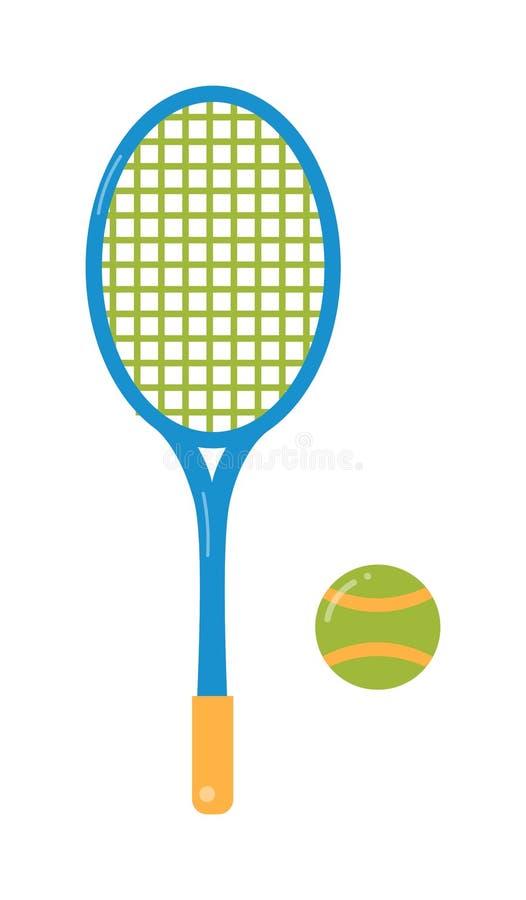 Bola de tênis e ilustração lisa da raquete ilustração do vetor