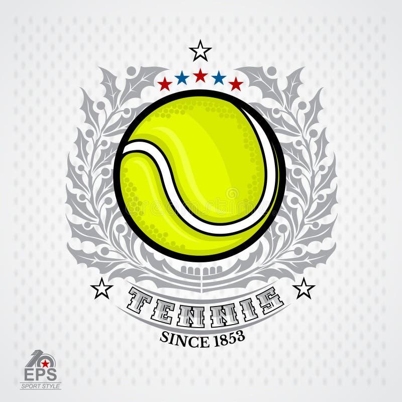 Bola de tênis no centro da grinalda de prata do louro no fundo claro Ilustração do ícone exterior do projeto dos esportes da aven ilustração stock