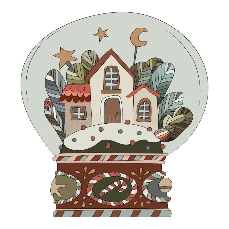 Bola de vidro decorativa do inverno com casas e neve para dentro ilustração do vetor