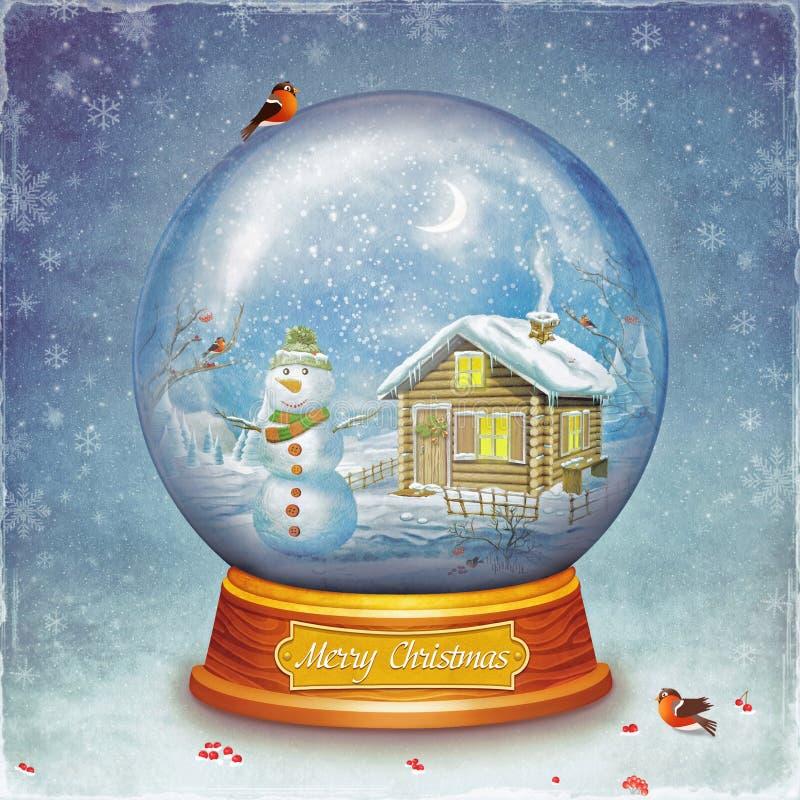 Bola de vidro do Feliz Natal com boneco de neve e casa no fundo do grunge ilustração royalty free