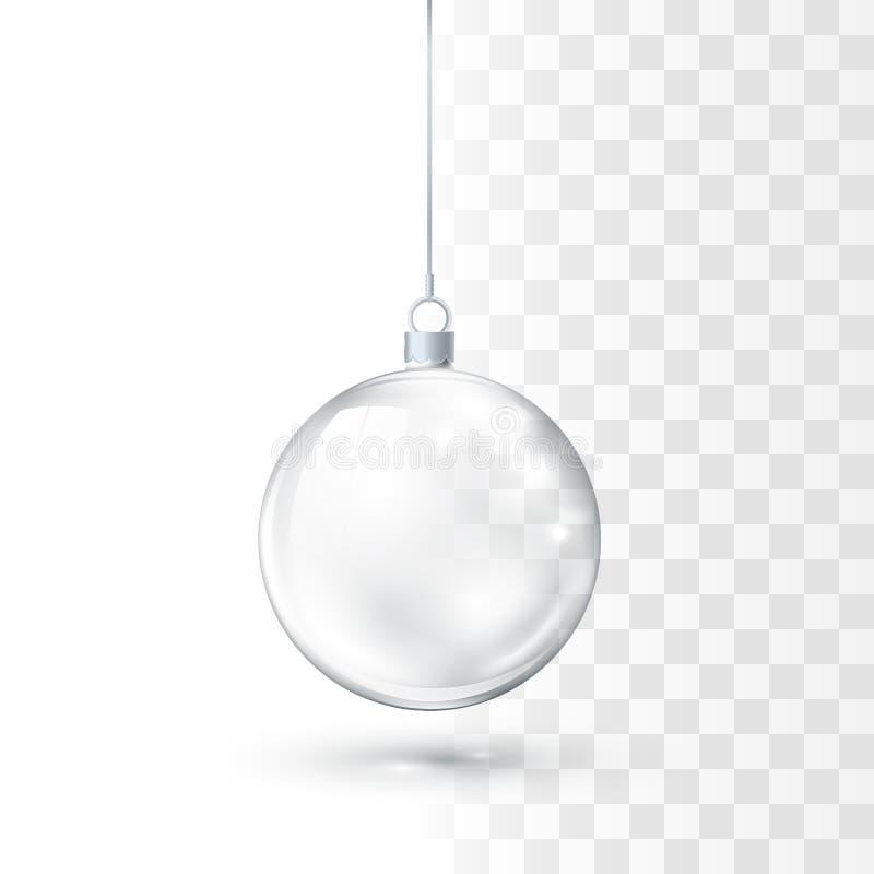 Bola de vidro do Natal Xmas de cristal lustroso realístico e brinquedo da decoração da árvore do ano novo Ilustração do vetor ilustração do vetor