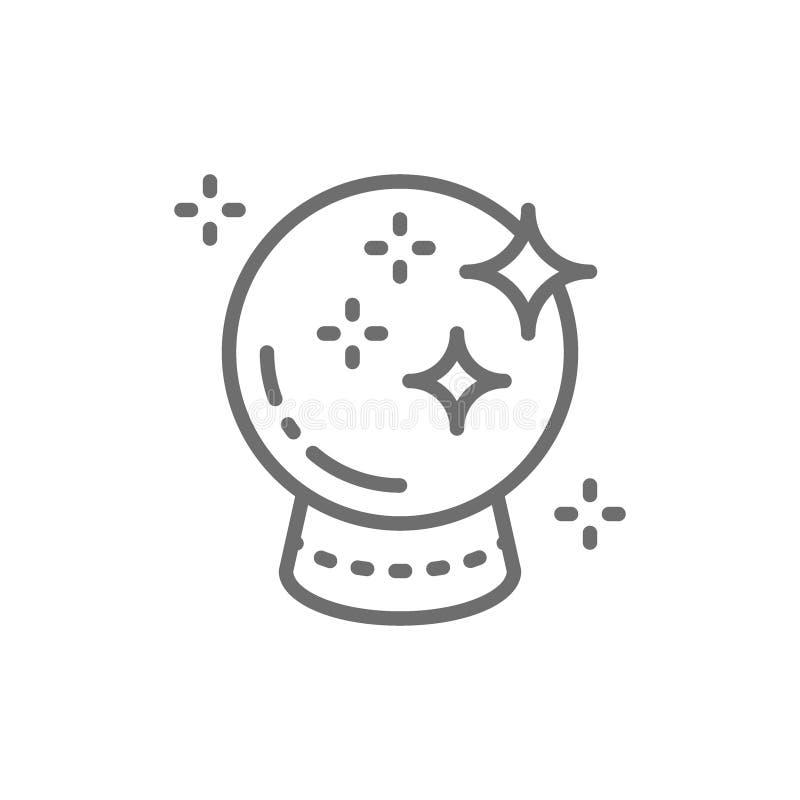 Bola de vidro mágica para previsões, linha de cristal ícone da esfera ilustração royalty free