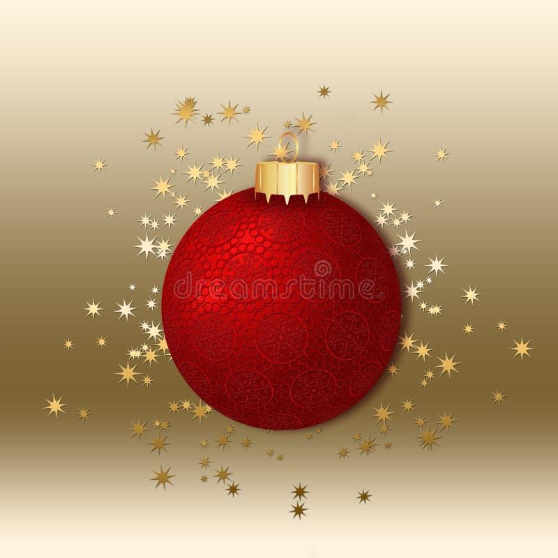 Bola decorada vermelha do Natal. ilustração stock