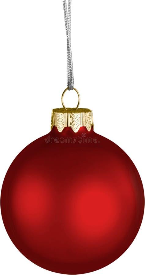 Bola decorativa do Natal brilhante vermelho isolada sobre imagem de stock