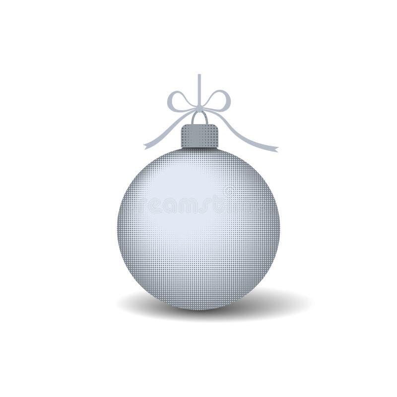 Bola del árbol de navidad con el arco de la cinta Decoración de plata de la chuchería, aislada en el fondo blanco Símbolo de la F ilustración del vector