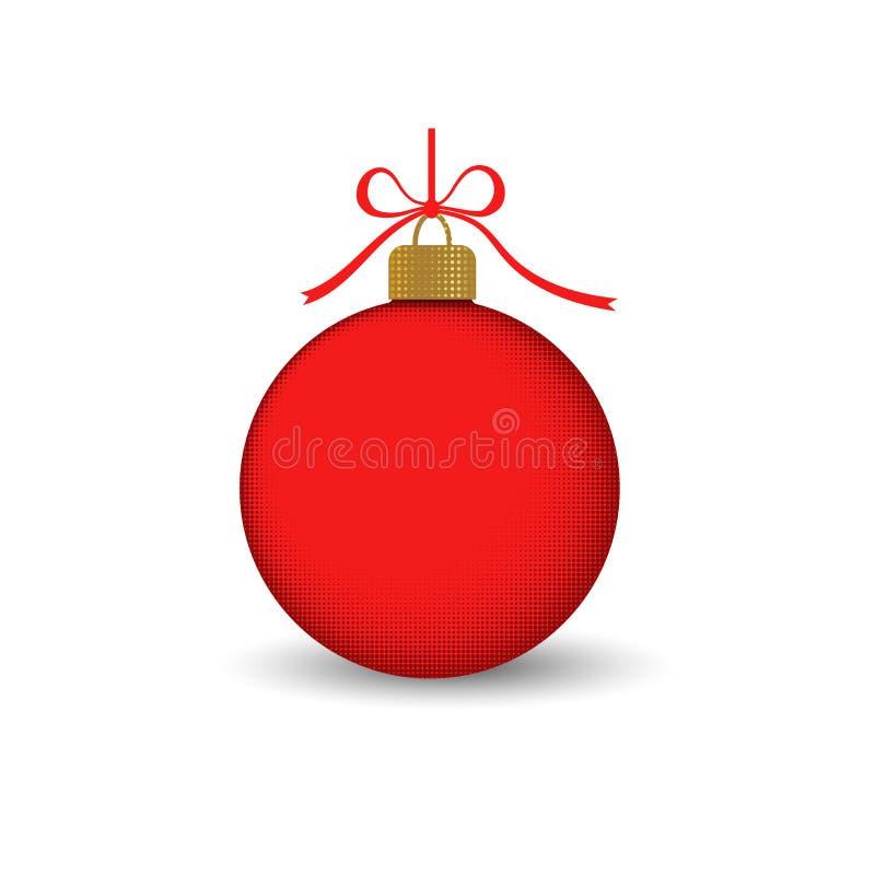 Bola del árbol de navidad con el arco de la cinta Decoración roja de la chuchería, aislada en el fondo blanco Símbolo de la Feliz stock de ilustración