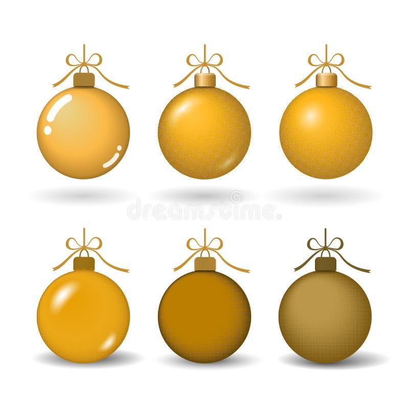 Bola del árbol de navidad con el arco de la cinta del oro La chuchería de oro fijó la decoración, aislada en el fondo blanco Símb ilustración del vector