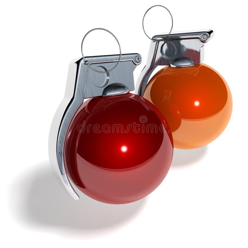 Bola del árbol de navidad de la granada de mano ilustración del vector