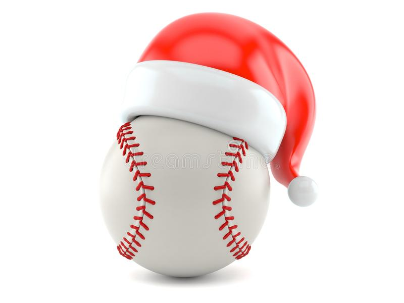 Bola del béisbol con el sombrero de santa stock de ilustración