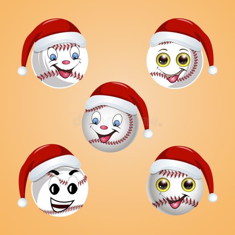 Bola del béisbol en el sombrero de Santa Claus libre illustration
