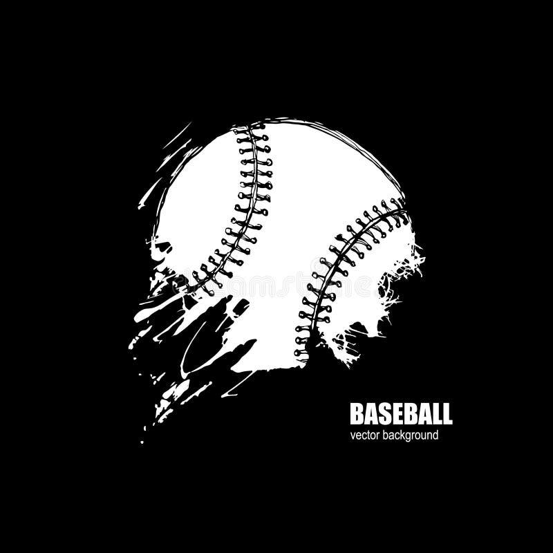 Bola del béisbol Impresión en la camiseta Deporte, Grunge ilustración del vector
