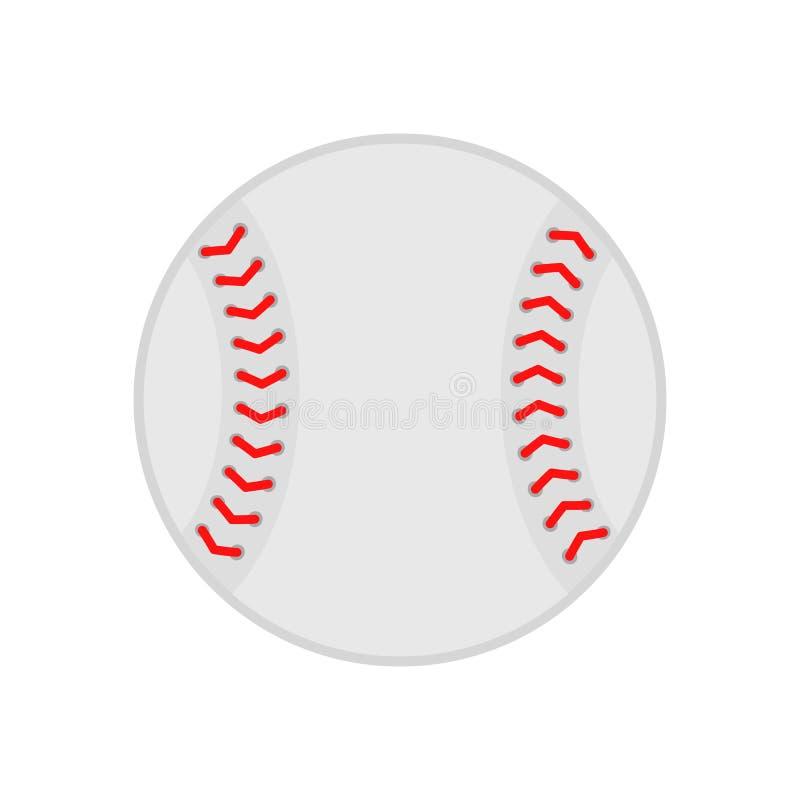 Bola del béisbol softball Silueta del vector Icono del vector aislado en el fondo blanco Ejemplo plano stock de ilustración