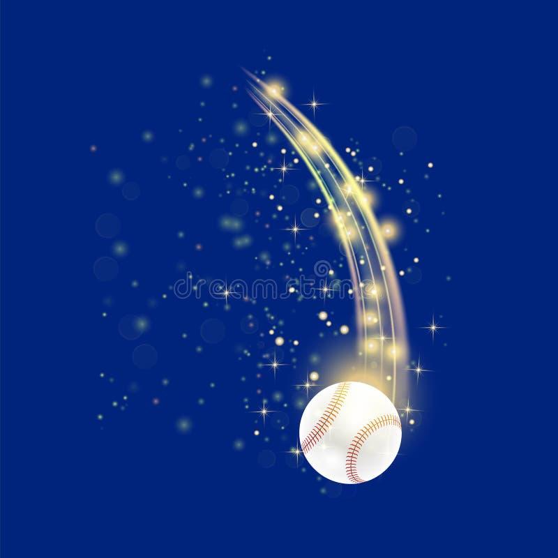 Bola del béisbol del vuelo ilustración del vector
