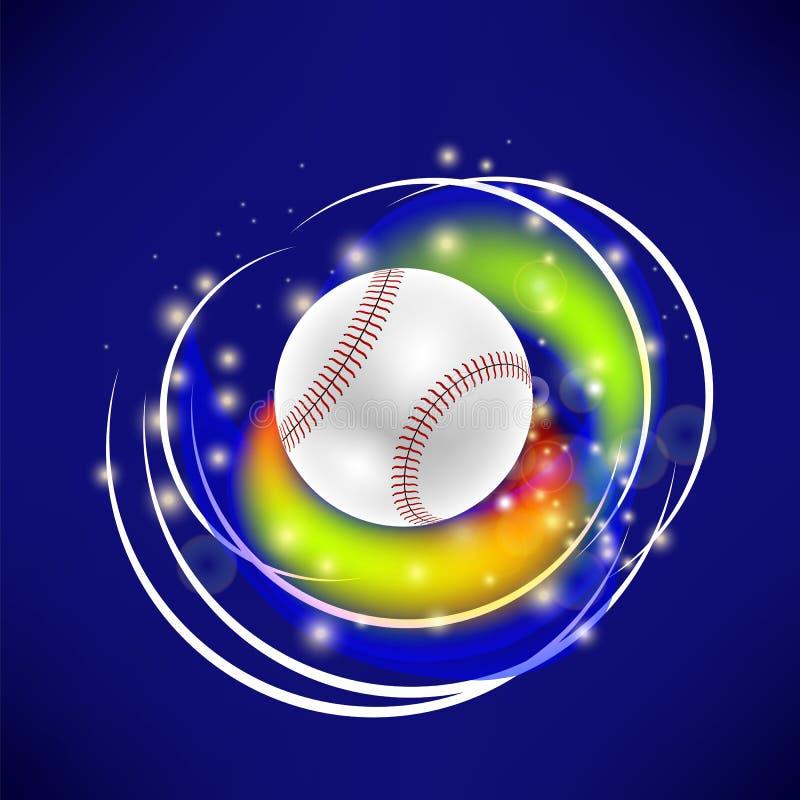 Bola del béisbol del vuelo con las chispas amarillas ilustración del vector