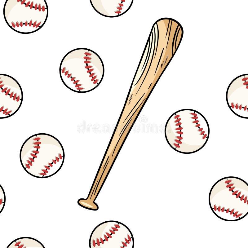Bola del béisbol y golpear el modelo inconsútil Teja exhausta de la textura del fondo de los garabatos de la mano linda del garab stock de ilustración