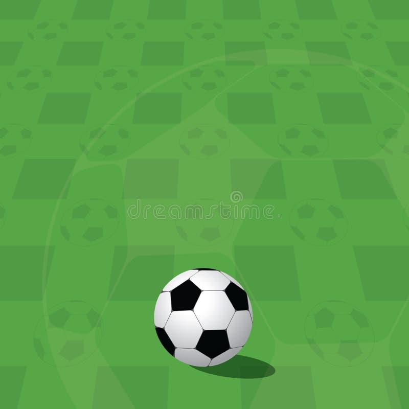 Bola del balompié en campo verde stock de ilustración