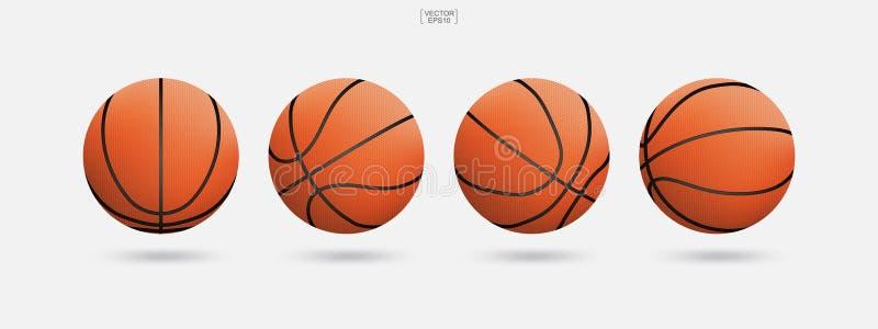 Bola del baloncesto aislada en el fondo blanco Ilustración del vector libre illustration