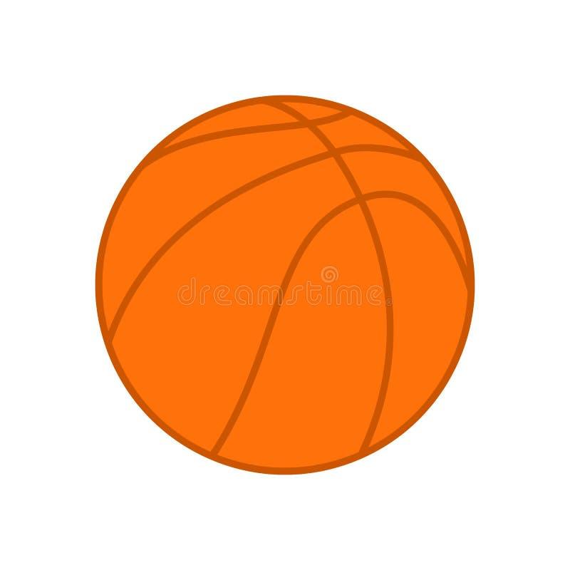 Bola del baloncesto Bola anaranjada del baloncesto Silueta del vector Icono del vector aislado en el fondo blanco Ejemplo plano ilustración del vector