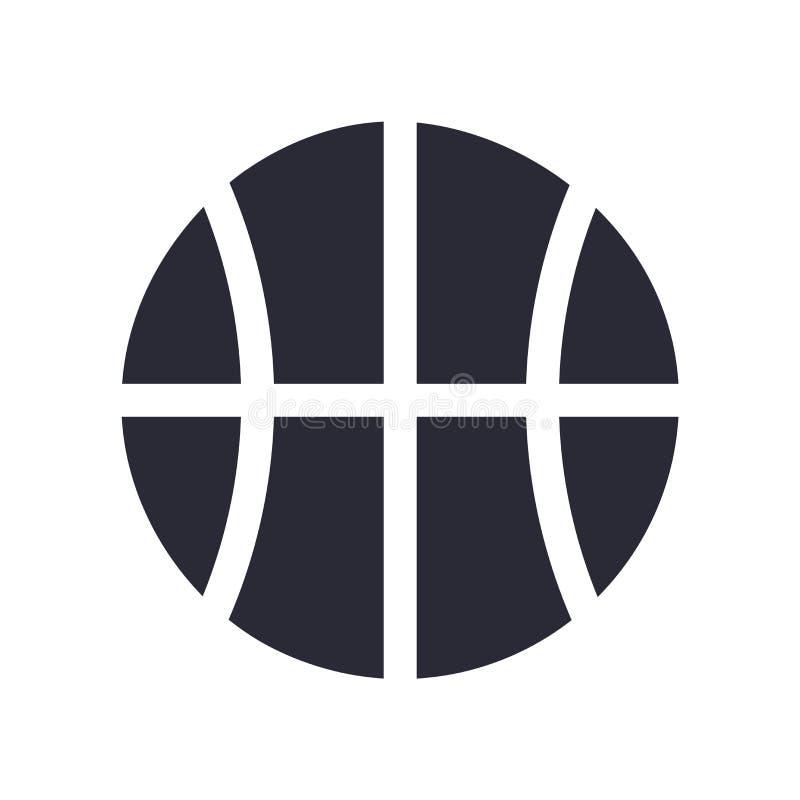 Bola del baloncesto con la línea muestra y símbolo del vector del icono aislada en el fondo blanco, bola del baloncesto con la lí stock de ilustración