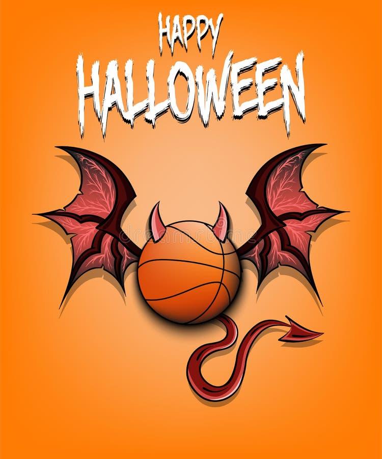 Bola del baloncesto con los cuernos, las alas y la cola del diablo ilustración del vector