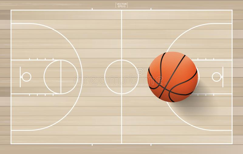 Bola del baloncesto en campo del baloncesto con la línea área de la corte Vector libre illustration