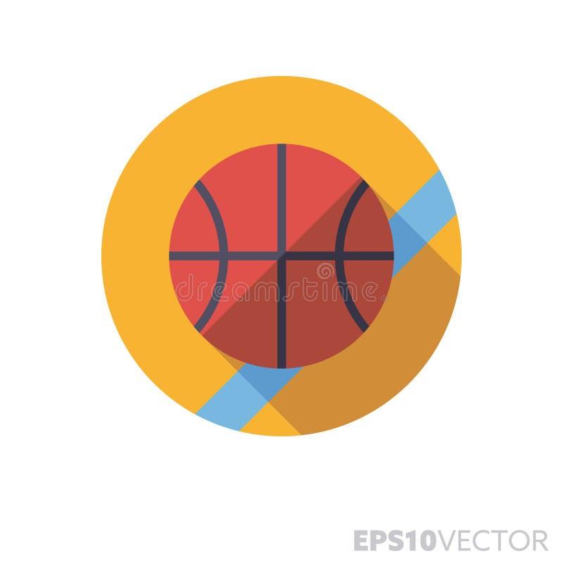 Bola del baloncesto en icono largo del vector del color de la sombra del diseño plano de la corte stock de ilustración