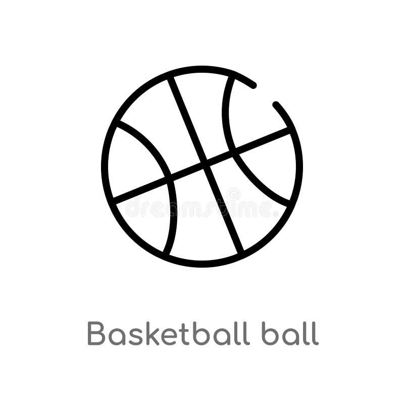 bola del baloncesto del esquema con la l?nea icono del vector l?nea simple negra aislada ejemplo del elemento del concepto de los stock de ilustración