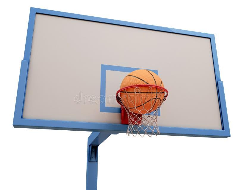 Bola del baloncesto que cae en un aro de baloncesto stock de ilustración