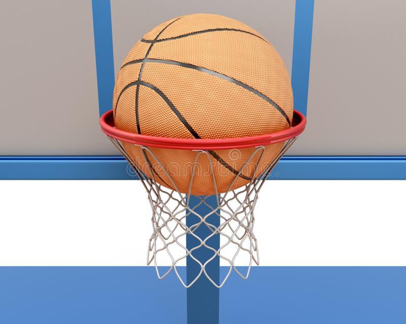 Bola del baloncesto que cae en un primer del anillo ilustración del vector