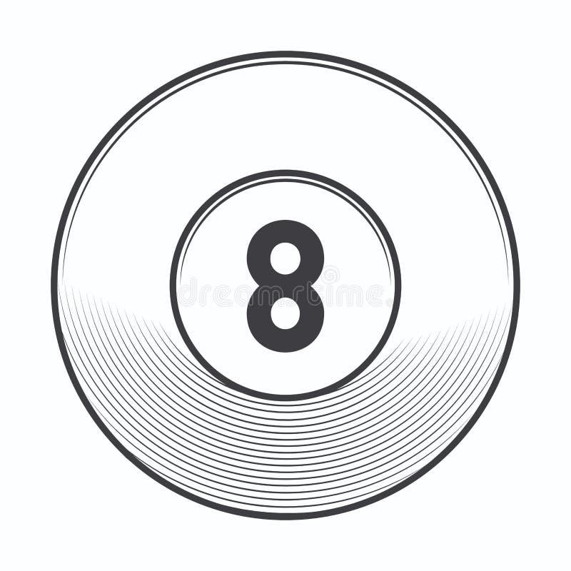 Bola del billar ocho aislada en el fondo blanco Línea arte libre illustration