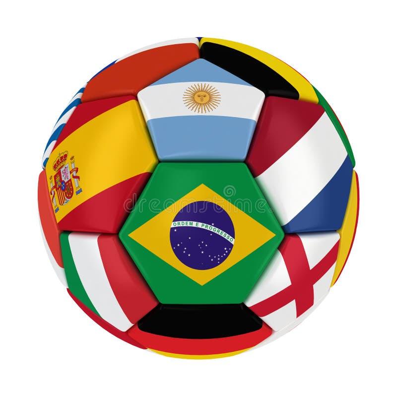 Bola 2014 del Brasil del mundial con las banderas de país ilustración del vector