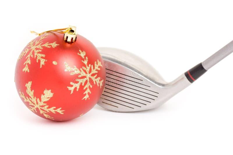 Bola del club de golf y de la Navidad imagen de archivo libre de regalías