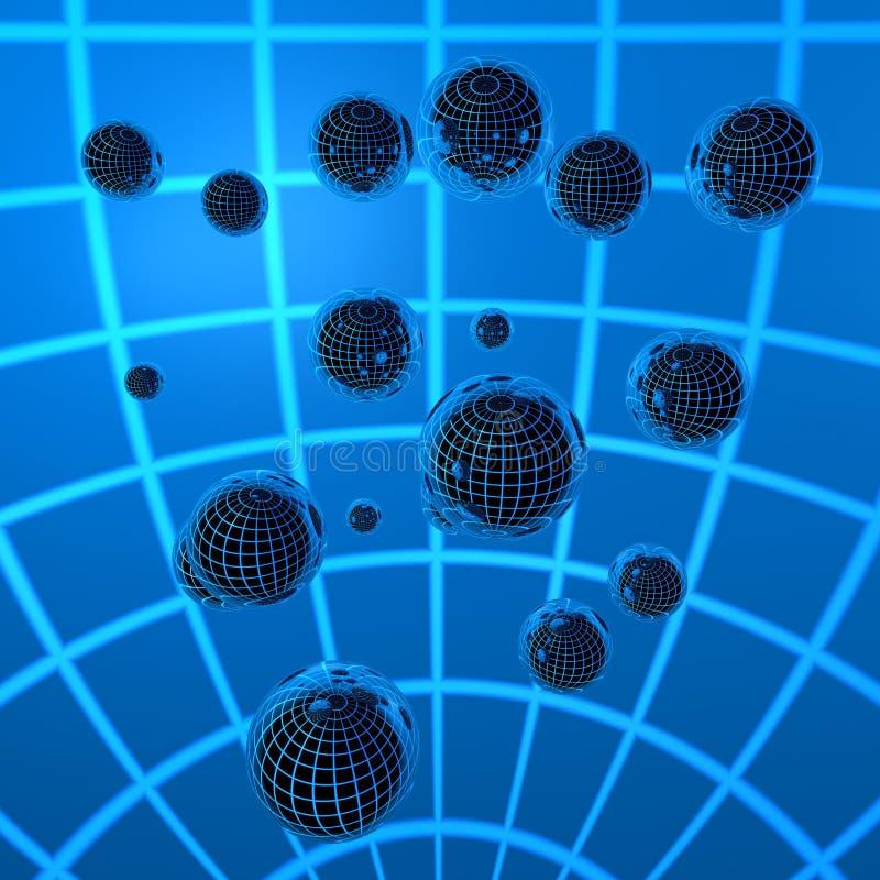 bola del cromo 3D en líneas azules fotografía de archivo