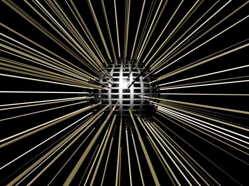 Bola del disco con las luces chispeantes que reflejan. ilustración del vector