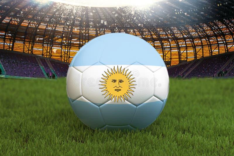 Bola del equipo de fútbol de la Argentina en fondo grande del estadio Concepto de la competencia del equipo de la Argentina Bande ilustración del vector
