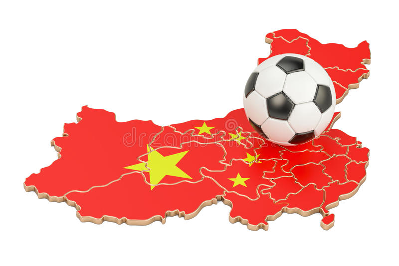 Bola del fútbol con el mapa del concepto de China, representación 3D libre illustration