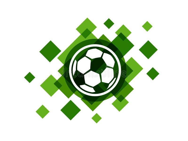 Bola del fútbol en icono abstracto verde del vector del fondo stock de ilustración
