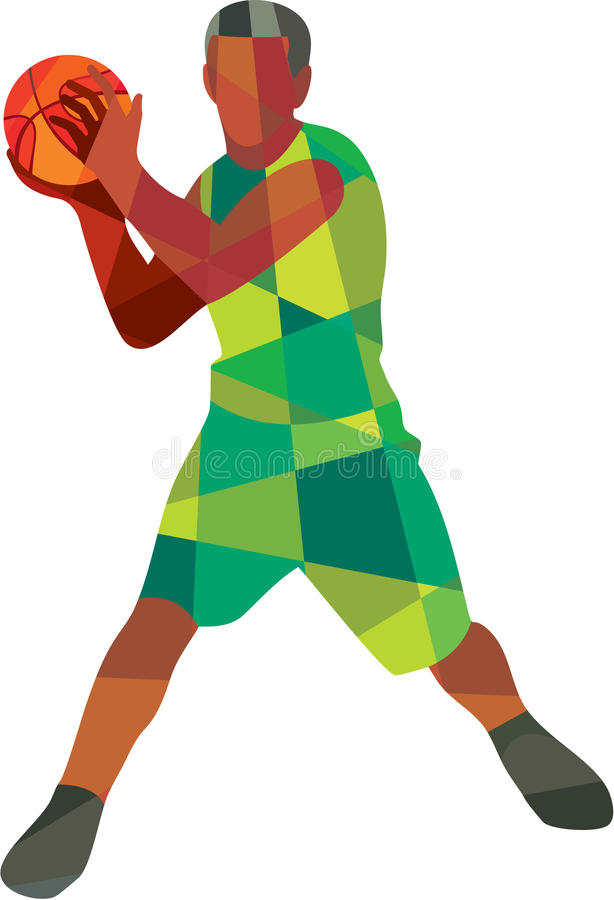 Bola del jugador de básquet en polígono bajo de la acción libre illustration
