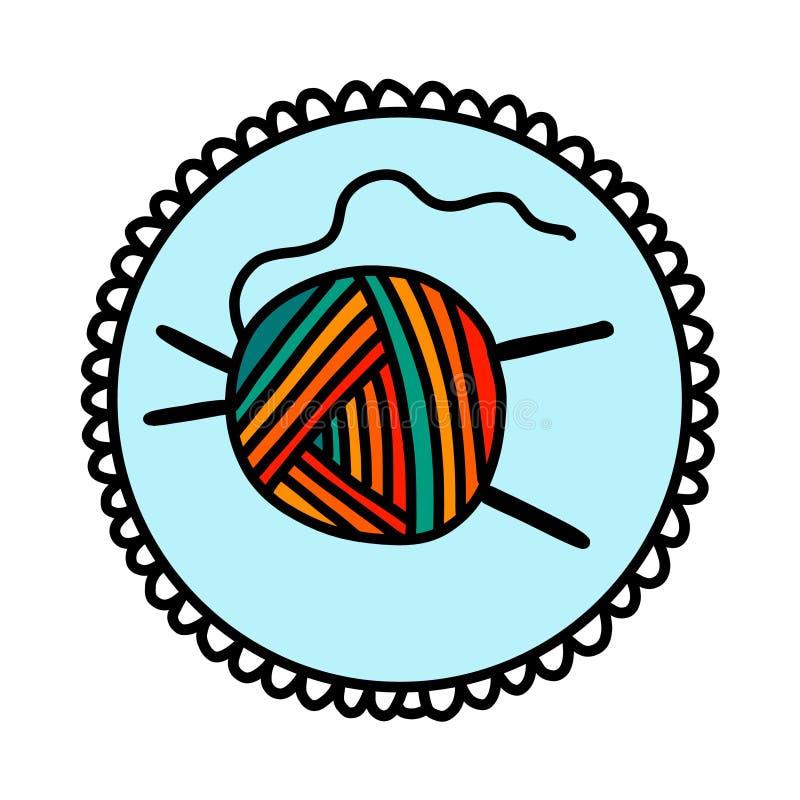 Bola del logotipo exhausto del logotipo de la mano de las lanas del hilado para contar un cuento la enseñanza video del estudio d libre illustration