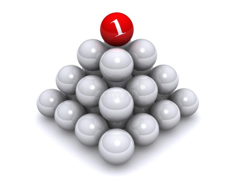 Bola del número uno en pila ilustración del vector