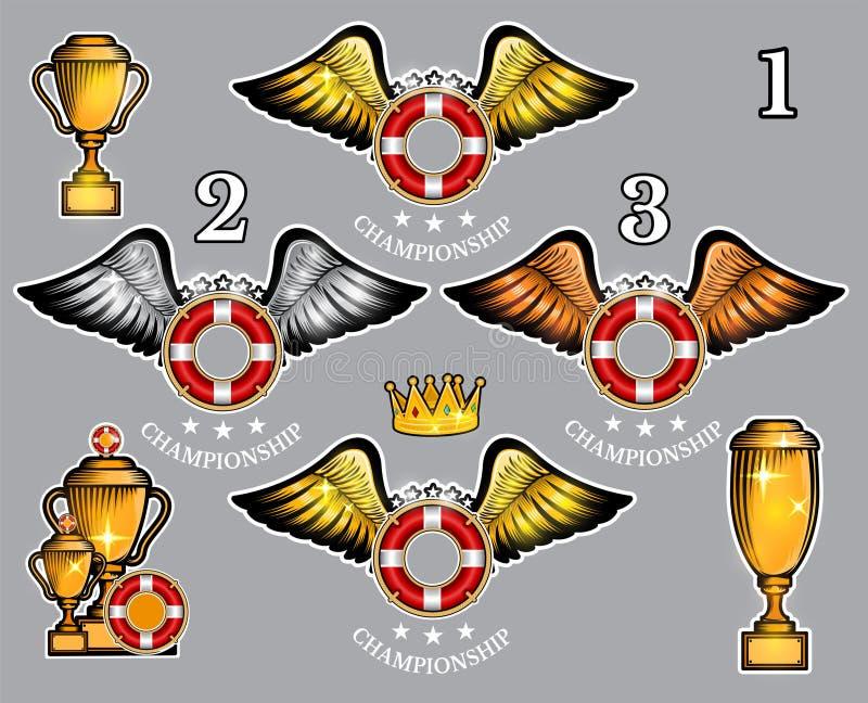 Bola del salvavidas con las tazas y la corona de las alas Sistema del vector del logotipo del deporte para cualquier equipo ilustración del vector