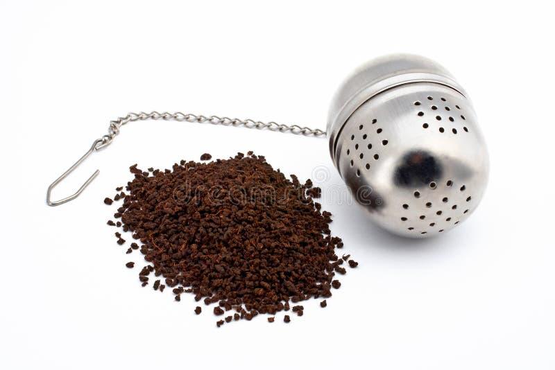 Bola del té y de té del acero inoxidable imagen de archivo libre de regalías