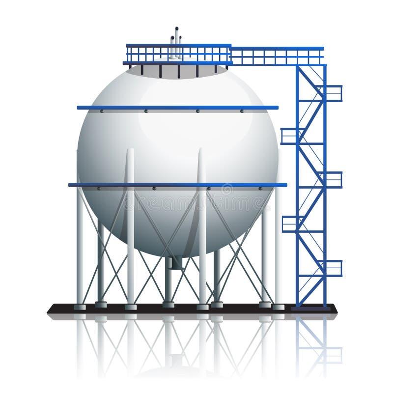 Bola del tanque de aceite con la reflexión ilustración del vector