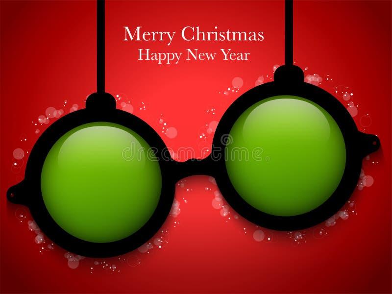 Bola del verde de la Feliz Navidad con los vidrios stock de ilustración