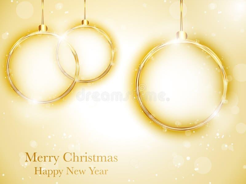 Bola do ano novo feliz do Feliz Natal dourada ilustração royalty free